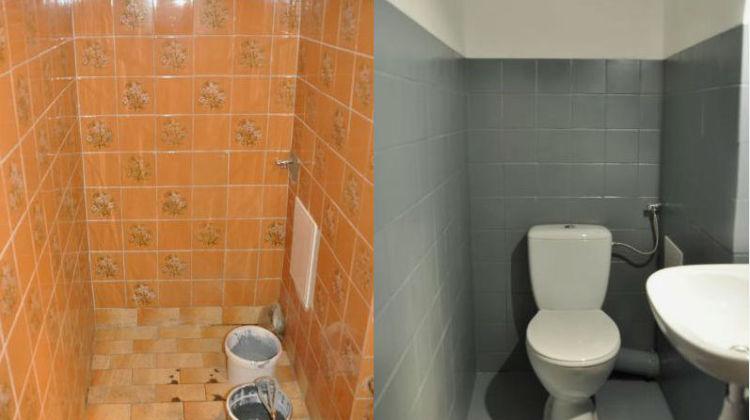 Malowanie płytek ceramicznych - toaleta przed i po malowaniu płytek